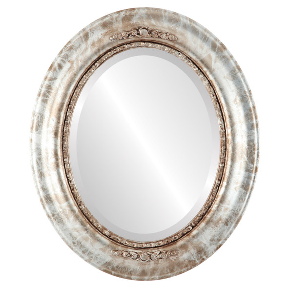 Beveled Mirror - Boston Oval Frame - Champagne Silver
