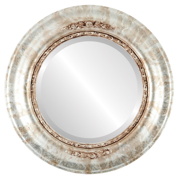Beveled Mirror - Boston Round Frame - Champagne Silver