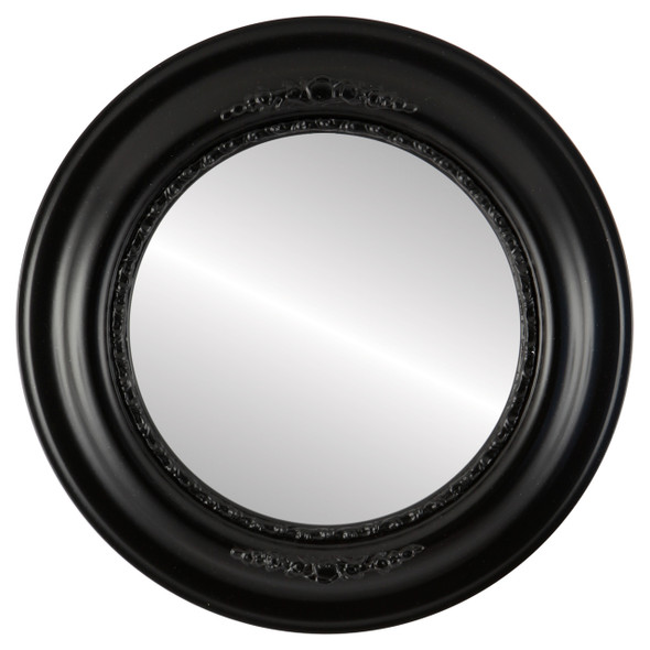 Beveled Mirror - Boston Round Frame - Gloss Black