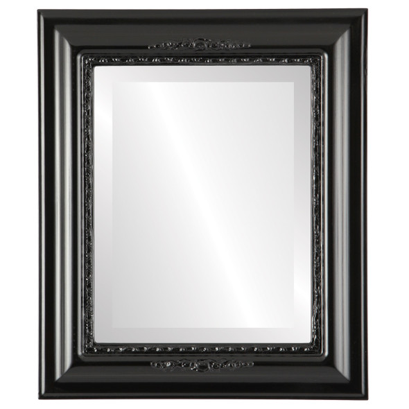 Beveled Mirror - Boston Rectangle Frame - Gloss Black