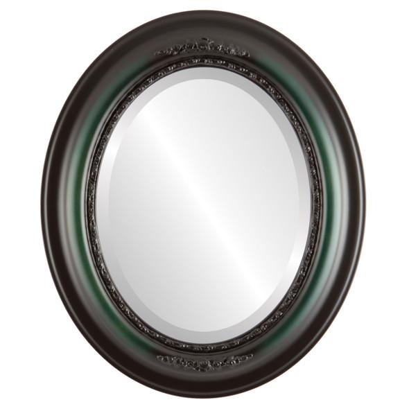 Beveled Mirror - Boston Oval Frame - Hunter Green