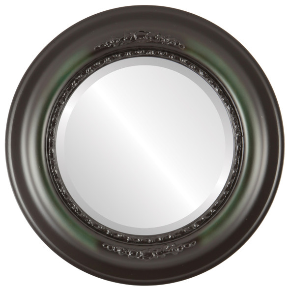 Beveled Mirror - Boston Round Frame - Hunter Green