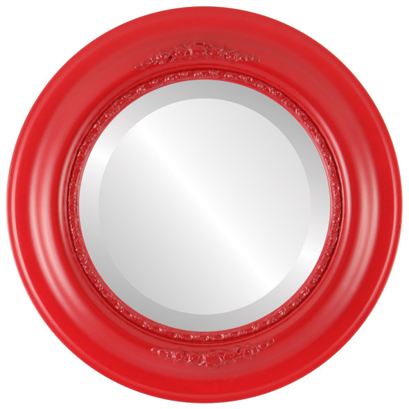 Beveled Mirror - Boston Round Frame - Holiday Red