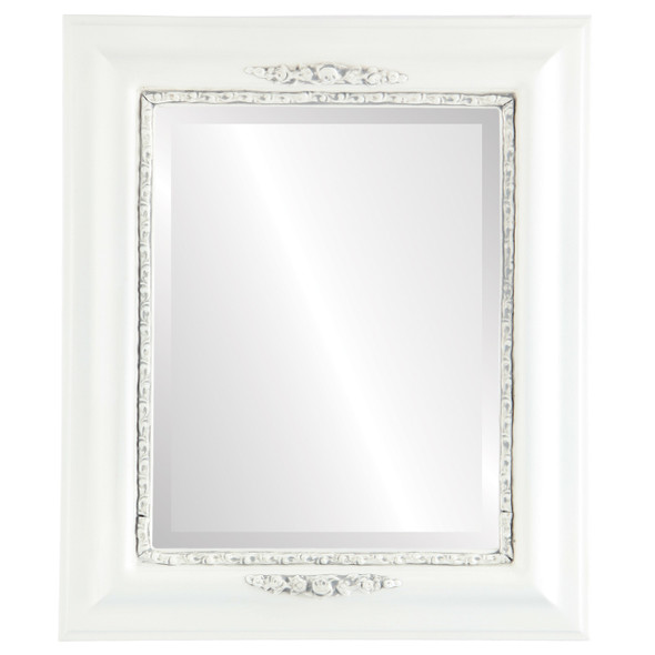 Beveled Mirror - Boston Rectangle Frame - Linen White