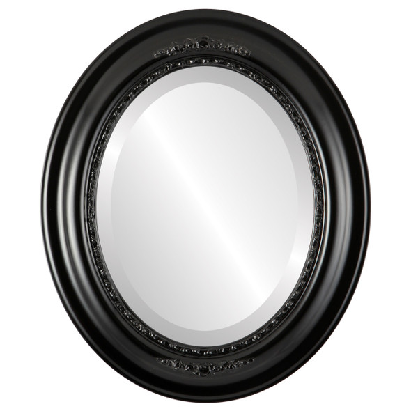 Beveled Mirror - Boston Oval Frame - Matte Black