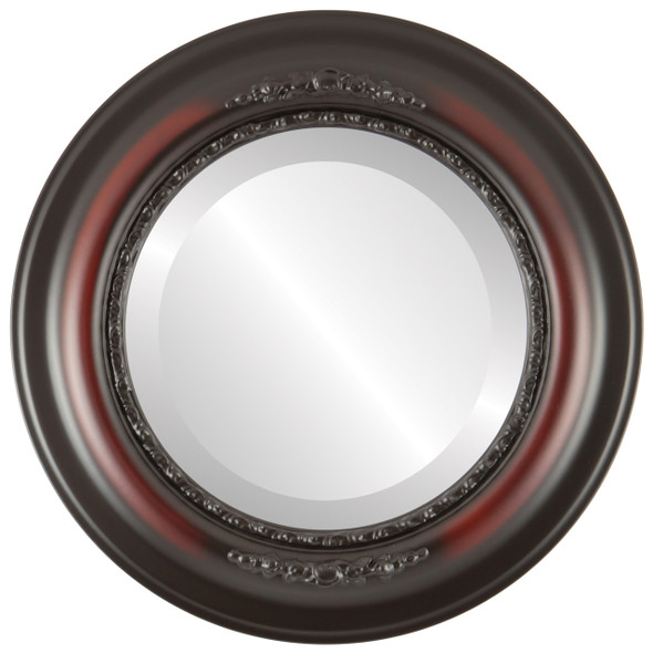 Beveled Mirror - Boston Round Frame - Rosewood