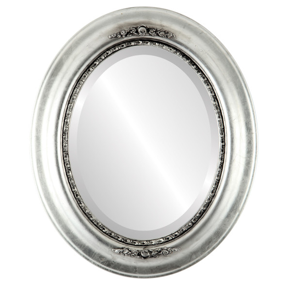 Beveled Mirror - Boston Oval Frame - Silver Leaf with Black Antique