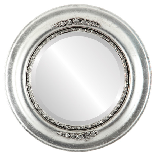 Beveled Mirror - Boston Round Frame - Silver Leaf with Black Antique