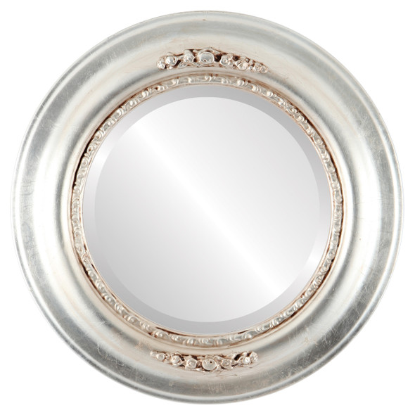 Beveled Mirror - Boston Round Frame - Silver Leaf with Brown Antique