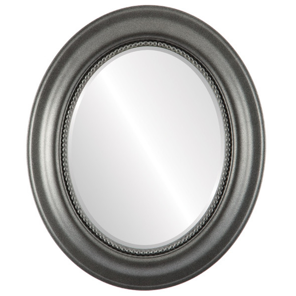 Beveled Mirror - Heritage Oval Frame - Black Silver
