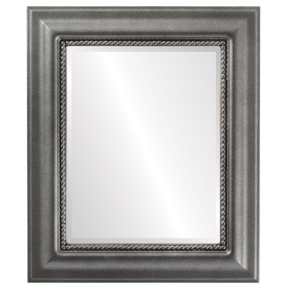 Beveled Mirror - Heritage Rectangle Frame - Black Silver