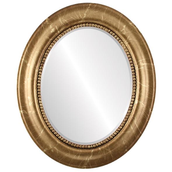 Beveled Mirror - Heritage Oval Frame - Champagne Gold