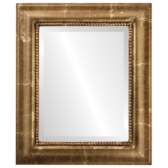 Beveled Mirror - Heritage Rectangle Frame - Champagne Gold