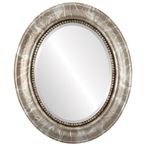 Beveled Mirror - Heritage Oval Frame - Champagne Silver