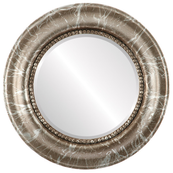 Beveled Mirror - Heritage Round Frame - Champagne Silver