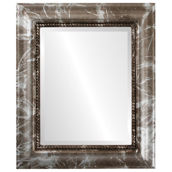 Beveled Mirror - Heritage Rectangle Frame - Champagne Silver