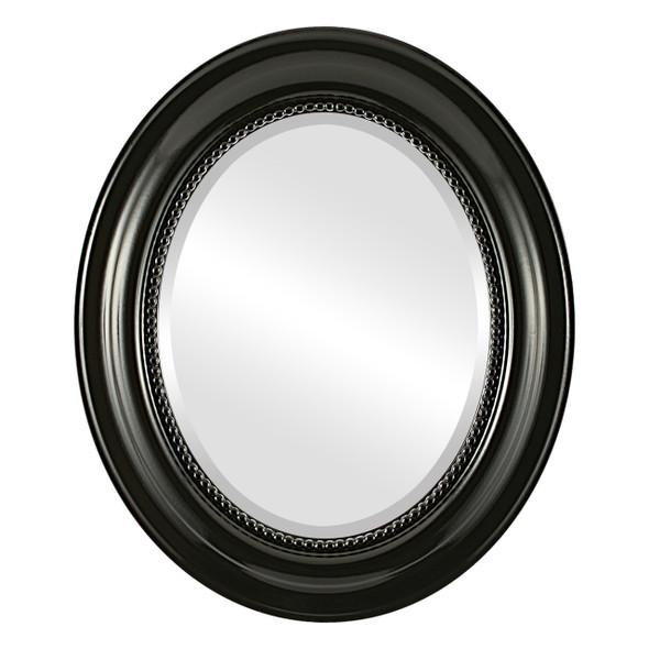Beveled Mirror - Heritage Oval Frame - Gloss Black