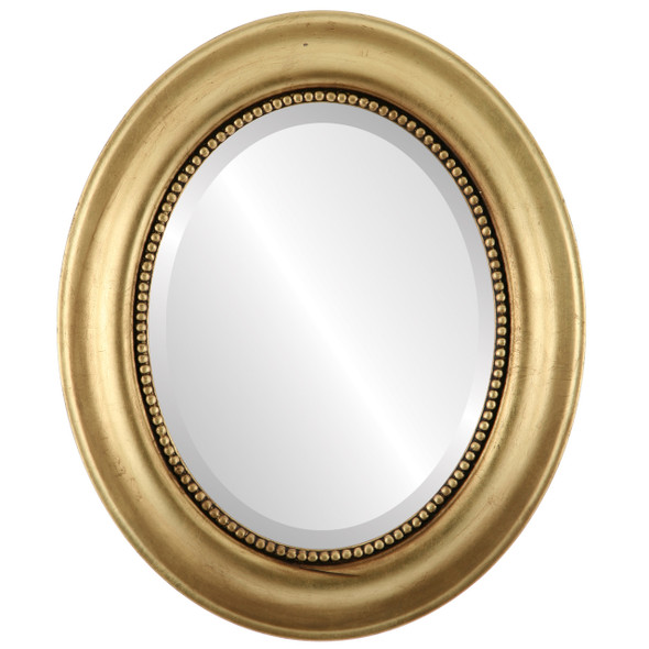 Beveled Mirror - Heritage Oval Frame - Gold Leaf