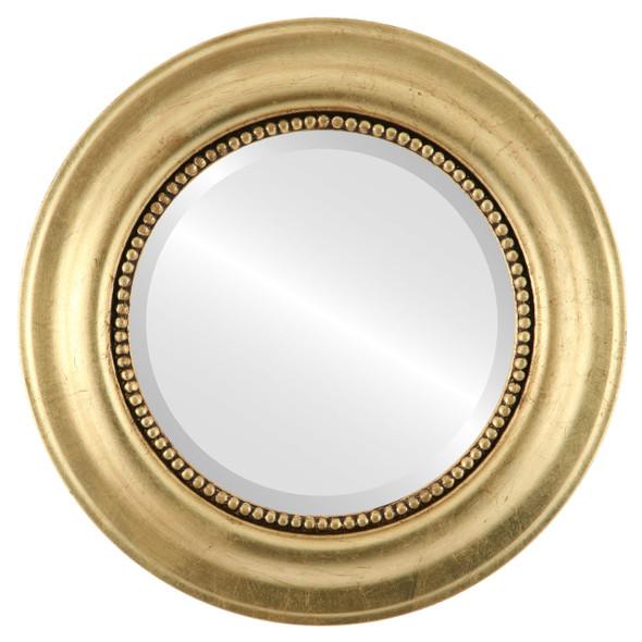 Beveled Mirror - Heritage Round Frame - Gold Leaf