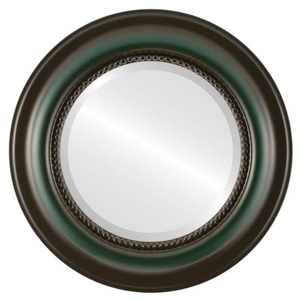 Beveled Mirror - Heritage Round Frame - Hunter Green