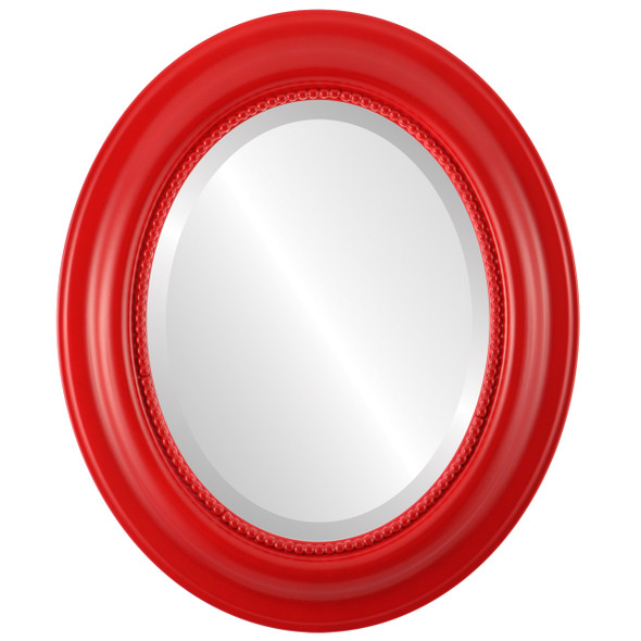 Beveled Mirror - Heritage Oval Frame - Holiday Red