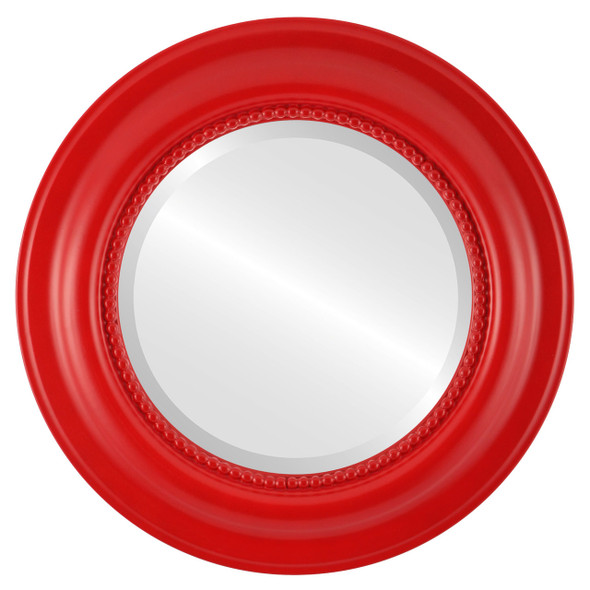 Beveled Mirror - Heritage Round Frame - Holiday Red