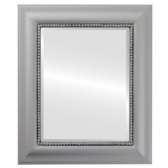 Beveled Mirror - Heritage Rectangle Frame - Linen White