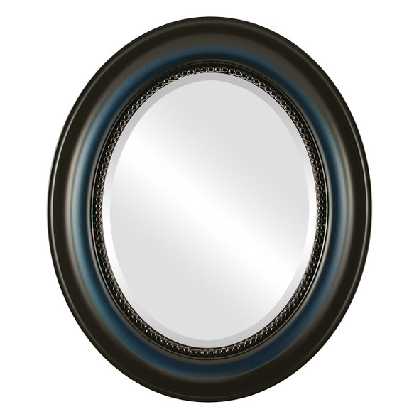 Beveled Mirror - Heritage Oval Frame - Royal Blue