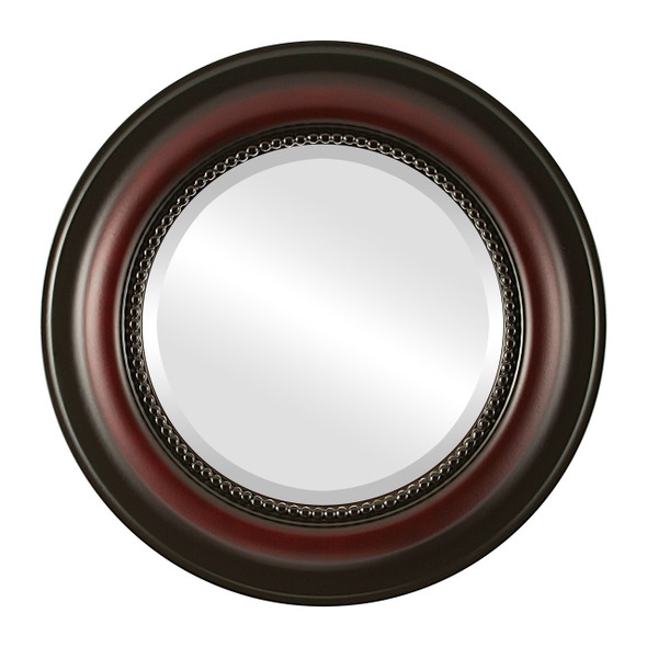 Beveled Mirror - Heritage Round Frame - Rosewood