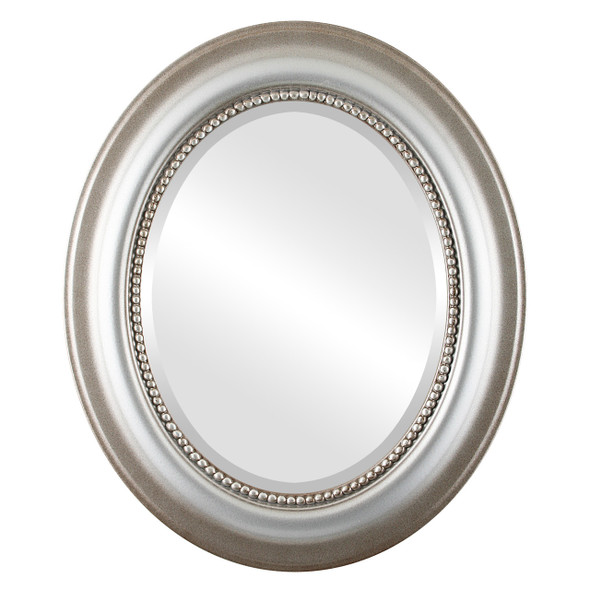 Beveled Mirror - Heritage Oval Frame - Silver Shade