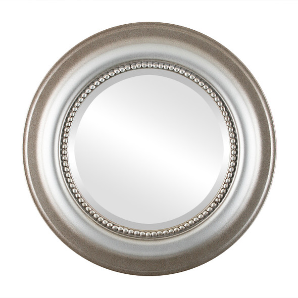 Beveled Mirror - Heritage Round Frame - Silver Shade