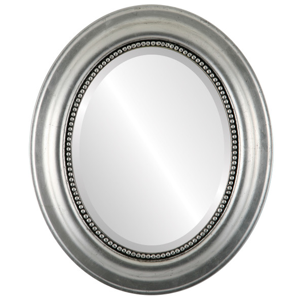 Beveled Mirror - Heritage Oval Frame - Silver Leaf with Black Antique