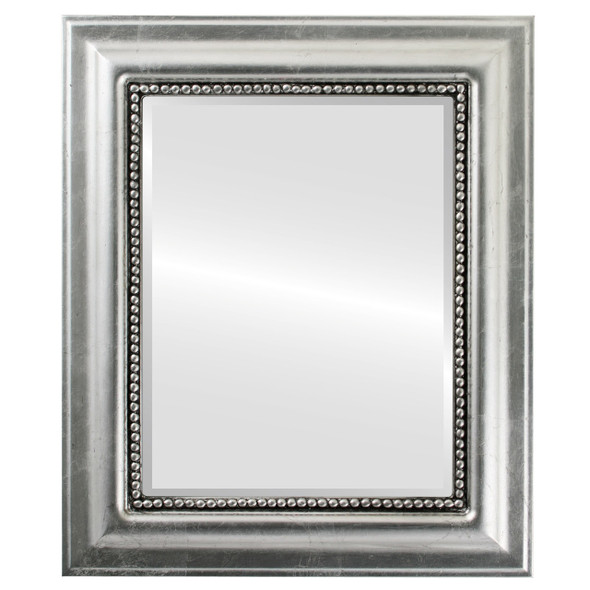 Beveled Mirror - Heritage Rectangle Frame - Silver Leaf with Black Antique