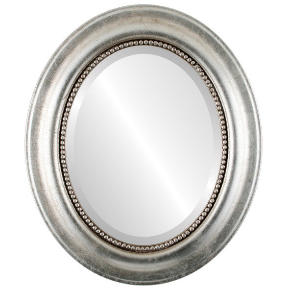 Beveled Mirror - Heritage Oval Frame - Silver Leaf with Brown Antique