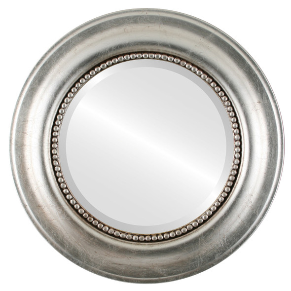 Beveled Mirror - Heritage Round Frame - Silver Leaf with Brown Antique