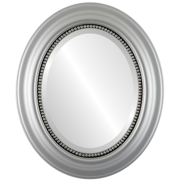 Beveled Mirror - Heritage Oval Frame - Silver Spray