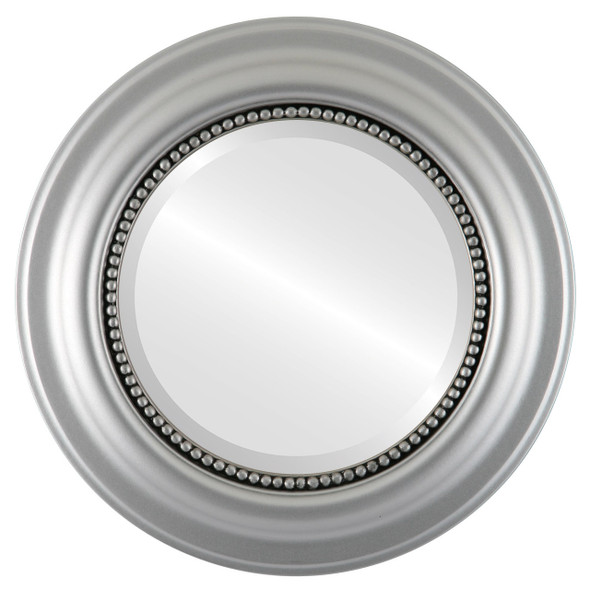Beveled Mirror - Heritage Round Frame - Silver Spray