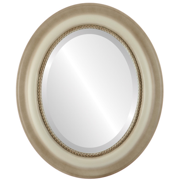 Beveled Mirror - Heritage Oval Frame - Taupe