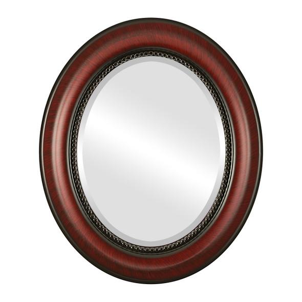 Beveled Mirror - Heritage Oval Frame - Vintage Cherry