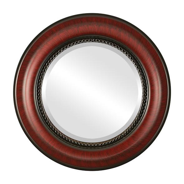 Beveled Mirror - Heritage Round Frame - Vintage Cherry