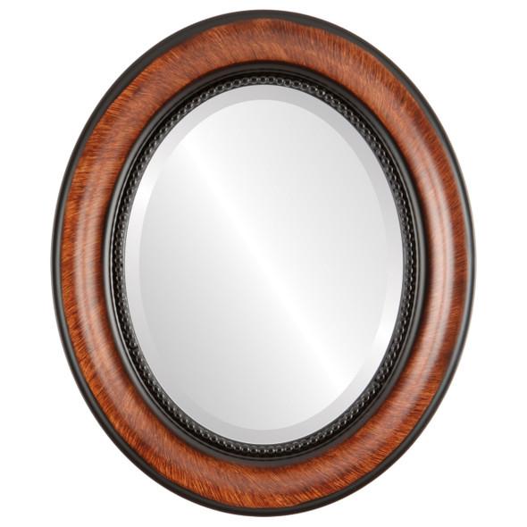 Beveled Mirror - Heritage Oval Frame - Vintage Walnut