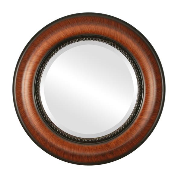 Beveled Mirror - Heritage Round Frame - Vintage Walnut