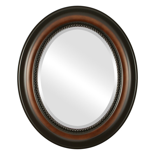 Beveled Mirror - Heritage Oval Frame - Walnut