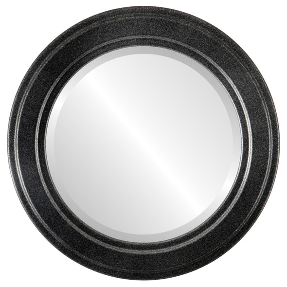 Beveled Mirror - Wright Round Frame - Black Silver