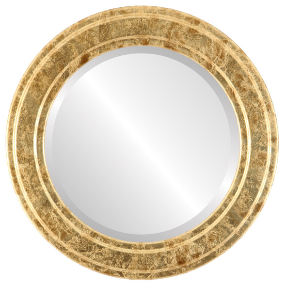 Beveled Mirror - Wright Round Frame - Champagne Gold