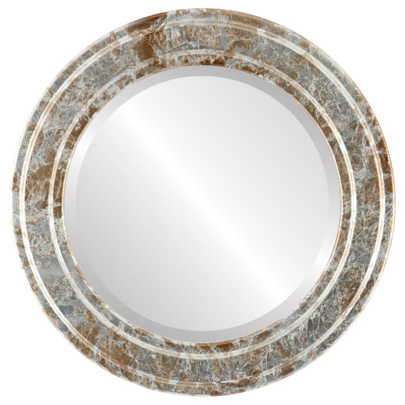 Beveled Mirror - Wright Round Frame - Champagne Silver