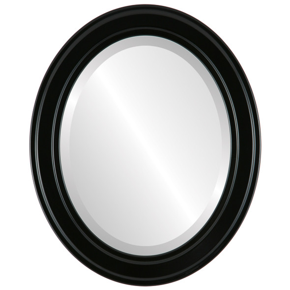 Beveled Mirror - Wright Oval Frame - Gloss Black