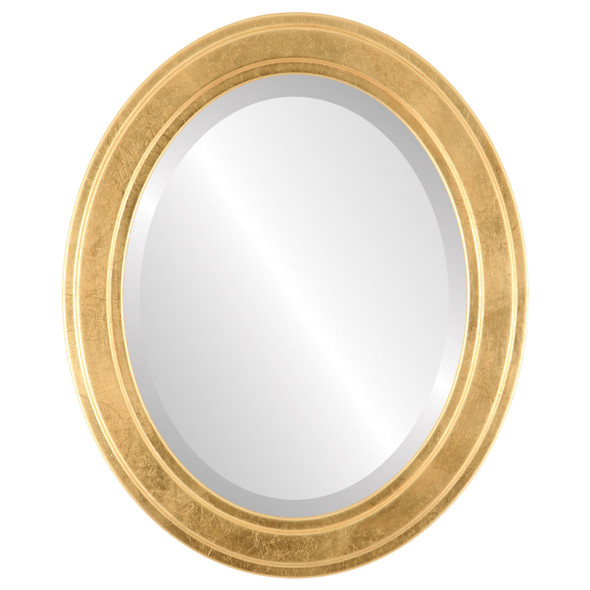 Beveled Mirror - Wright Oval Frame - Gold Leaf
