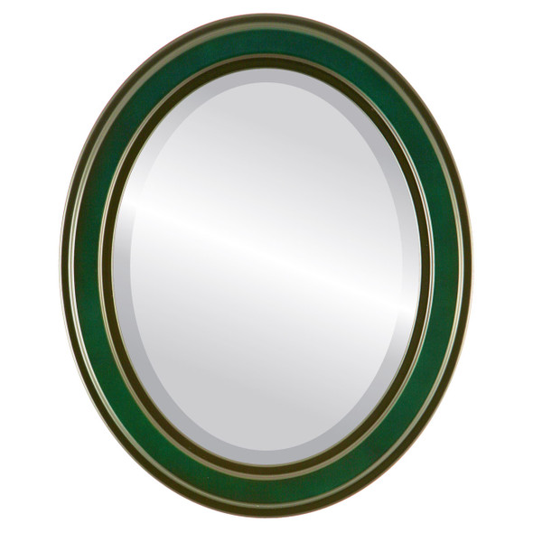 Beveled Mirror - Wright Oval Frame - Hunter Green