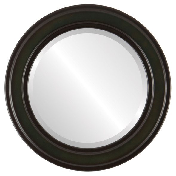 Beveled Mirror - Wright Round Frame - Hunter Green